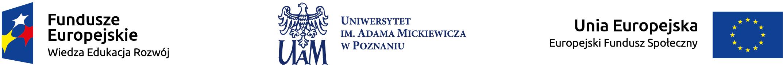 Stopka z logo: 1) Fundusze Europejskie - Wiedza Edukacja Rozwój, 2) rozszerzone logo UAM, 3) Logo-flaga Unii Europejskiej - Europejski Fundusz Społeczny